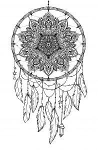 Mandala atrapasueño para colorear