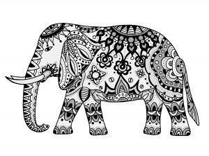 Mandalas de elefante para colorear