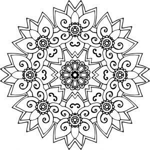 Mandalas de flores para colorear e imprimir