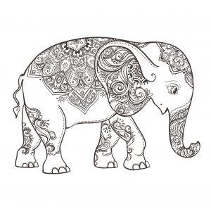 colorear elefantes de mandala