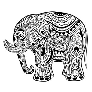 pintar elefantes de mandala