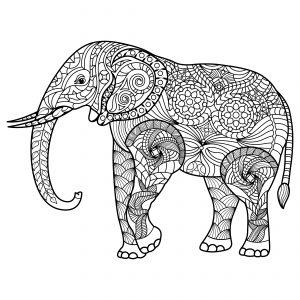 pintar mandalas de elefantes